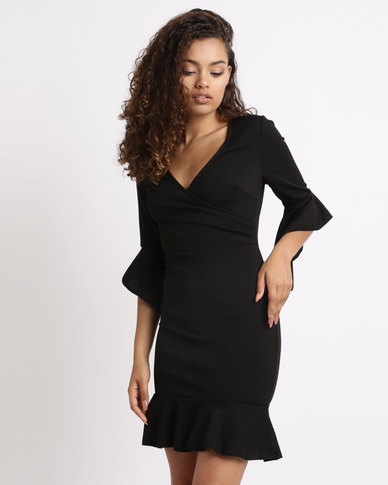 London Hub Fashion Wrap Front Frill Trim Bodycon Dress Black