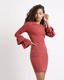 London Hub Fashion Multi Frill Sleeve Bodycon Dress Terracotta