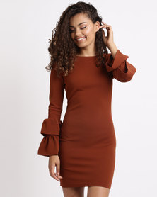 London Hub Fashion Multi Frill Sleeve Bodycon Dress Rust