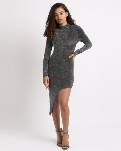 London Hub Fashion Metallic Asymmetric Hem Bodycon Dress Black/Silver