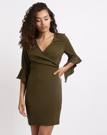 London Hub Fashion Wrap Front Frill Sleeve Bodycon Dress Khaki