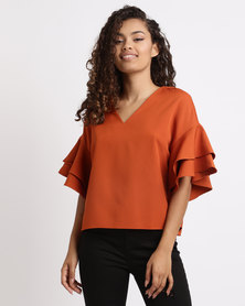 London Hub Fashion Ruffle Sleeve Neck Top Rust