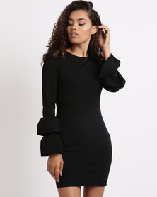 London Hub Fashion Multi Frill Sleeve Bodycon Dress Black