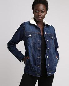 London Hub Fashion Lined Denim Jacket Navy