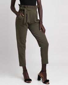 London Hub Fashion Paper Bag Waist Trouser Khaki