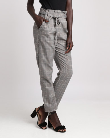 London Hub Fashion Paper Bag Waist Trouser Check