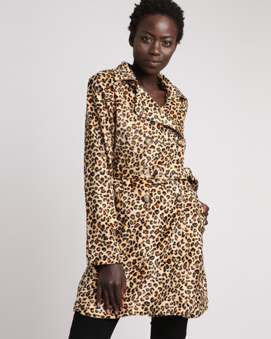London Hub Fashion Leopard Print Belted Trench Coat Brown