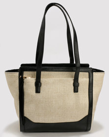 Marie Claire Two-Toned Structured Tote Bag Beige