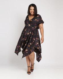 New Look Curves Floral Hanky Hem Dress Black