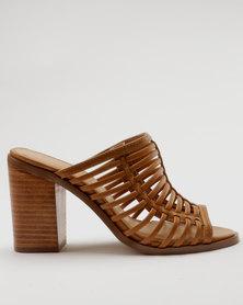 Bata Ladies Block Heel Caged Slip On Sandal Brown