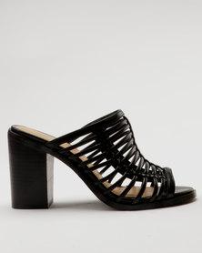 Bata Ladies Block Heel Caged Slip On Sandal Black