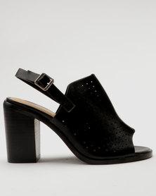 Bata Ladies Block Heel Caged Sandal with Ankle Buckle Black
