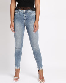 New Look High Waist Fray Hem Ripped Skinny Hallie Jeans Blue