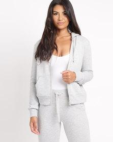 New Look Zip Front Hoodie Grey