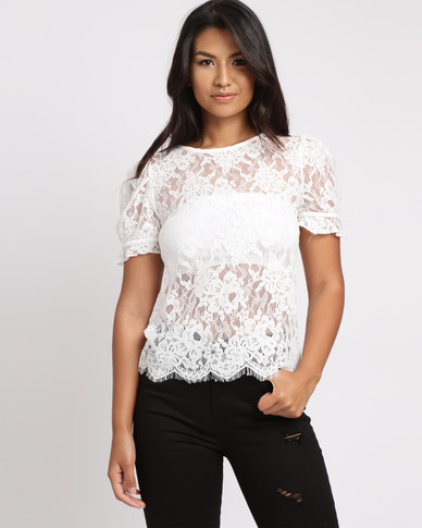 New Look Lace Scallop Hem Puff Sleeve Blouse White