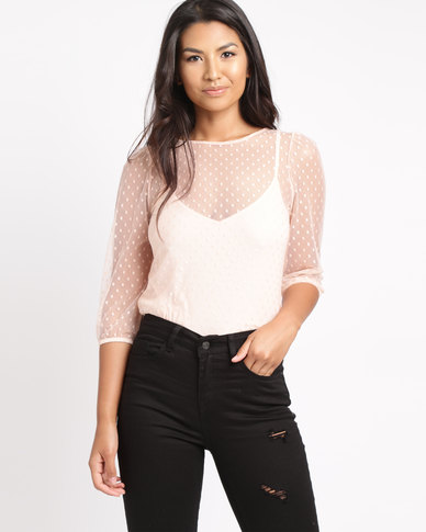 New Look Spot Mesh Gathered Sleeve Top Pink