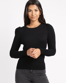 New Look Puff Sleeve Fine Knit Jumper Black