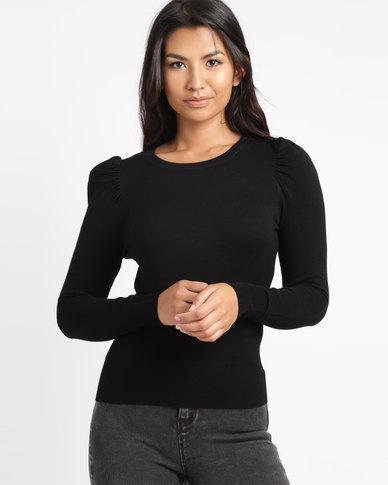 New Look Puff Sleeve Fine Knit Jumper Black