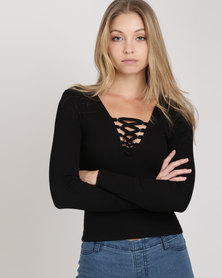 New Look Lace Up Neck Long Sleeve Top Black