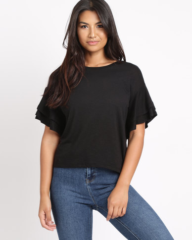 New Look Double Frill Sleeve T-Shirt Black