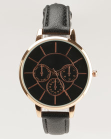 New Look Detailed Face Dial Watch Black