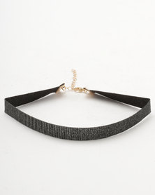 New Look Sparkle Ribbon Choker Black