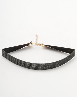 New Look Sparkle Ribbon Choker Black