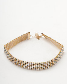 New Look Pearl Diamante Choker Gold-tone