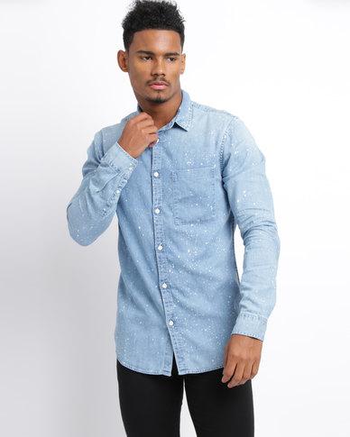 New Look Bleach Splatter Denim Shirt Pale Blue