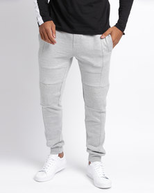 New Look Textured Biker Joggers  Grey