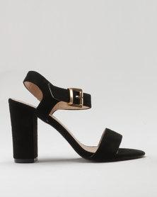 Utopia Microfibre Block Heel Sandal Black