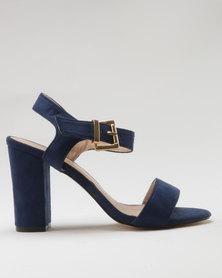 Utopia Microfibre Block Heel Sandal Navy