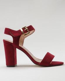 Utopia Microfibre Block Heel Sandal Burgundy