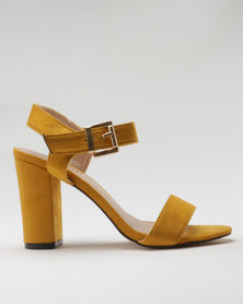 Utopia Microfibre Block Heel Sandal Mustard