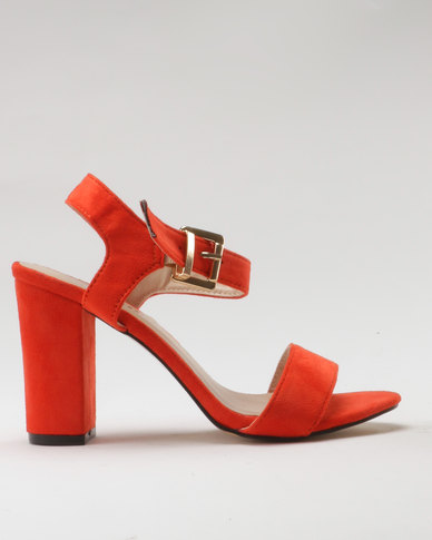 Utopia Microfibre Block Heel Sandal Orange