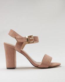 Utopia Microfibre Block Heel Sandal Pink