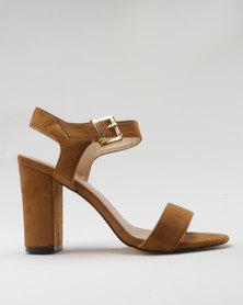 Utopia Microfibre Block Heel Sandal Camel