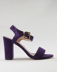 Utopia Microfibre Block Heel Sandal Purple