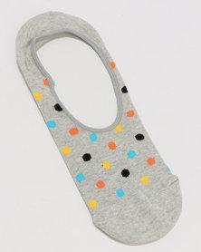 Happy Socks Dot Liner Sock Grey Multi