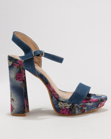 Miss Black Jenny Platform Sandals Blue