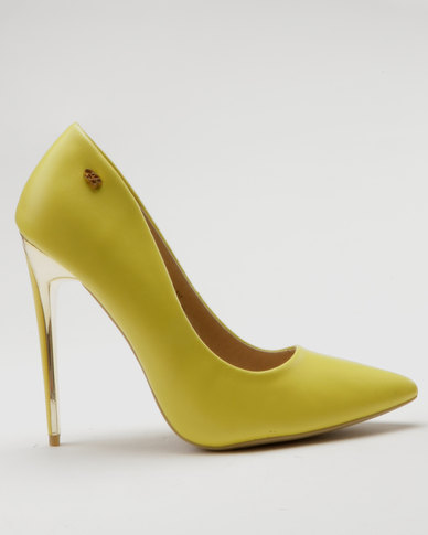 Miss Black Toni Court Heels Yellow