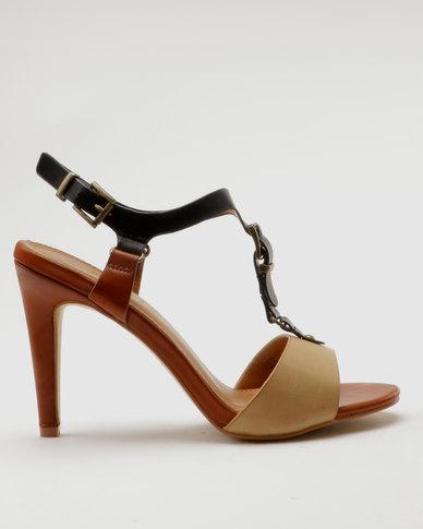 Miss Black Zeta Heel Sandals Brown