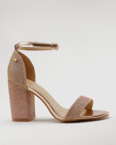 Miss Black Leen Heel Sandals Rose Gold