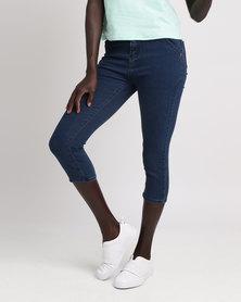 Legit Highwaist 3 Button Crop Jeans Blue