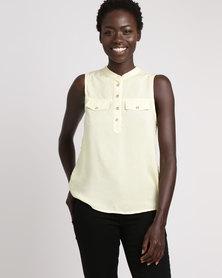 Legit Sleeveless Pocket Flap Henley Top Yellow