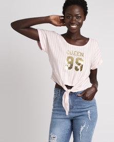 Legit Tie Front Woven Queen Stripe Tee Pink