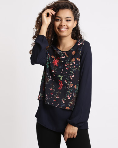 Revenge Floral Long Sleeve Blouse Navy