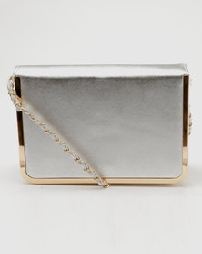 Joy Collectables Clutch With Metal Trim Bag Silver