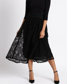 Queenspark Fancy Lace Knit Skirt Black