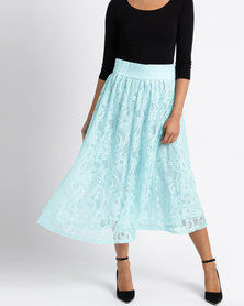 Queenspark Fancy Lace Knit Skirt Aqua